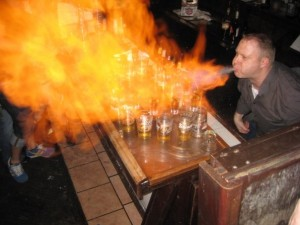 Where to eat in Austin: Flaming Dr. Pepper at Touche's on 6th Street