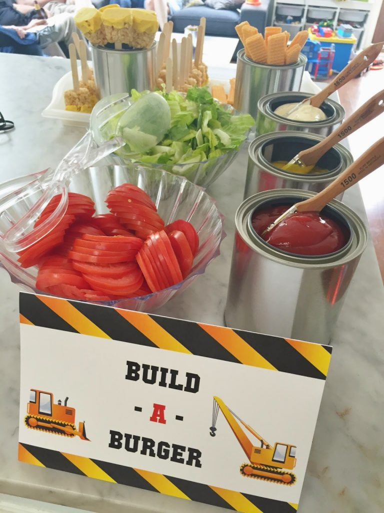 construction party food ideas: build a burger bar