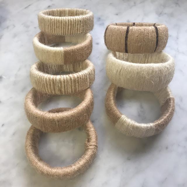 different type of DIY jute bangle bracelets for a women's safari fashion accessory idea