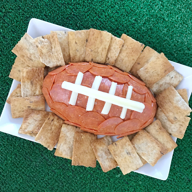super easy football party food ideas: game day football cheese ball