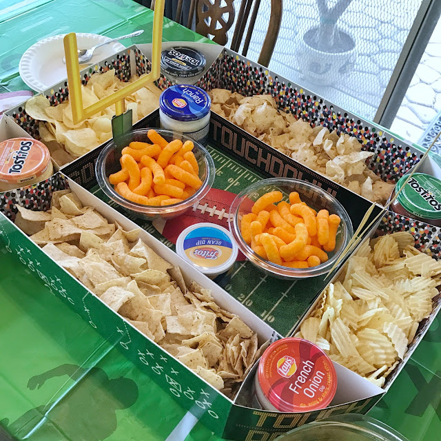 snack stadium chip and dip display for a football party