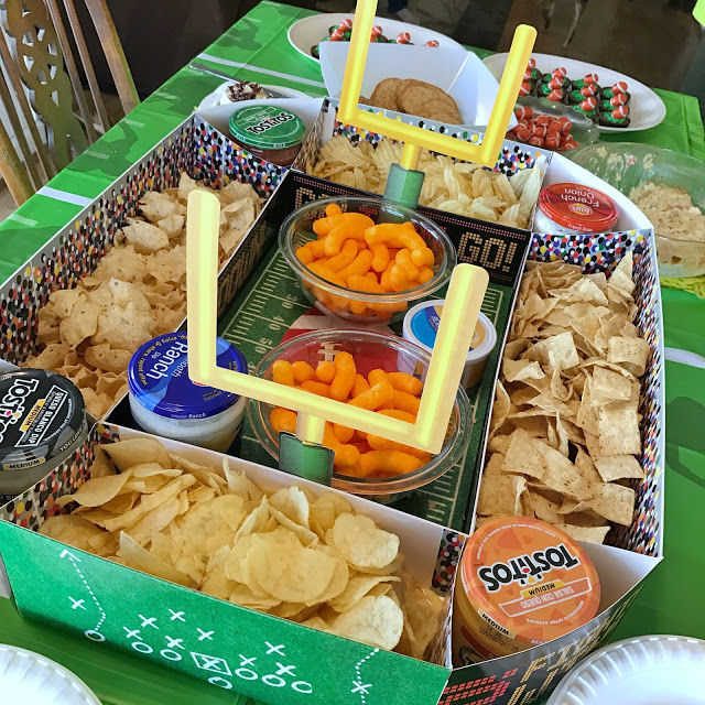 snack stadium chip and dip display for a football party food idea