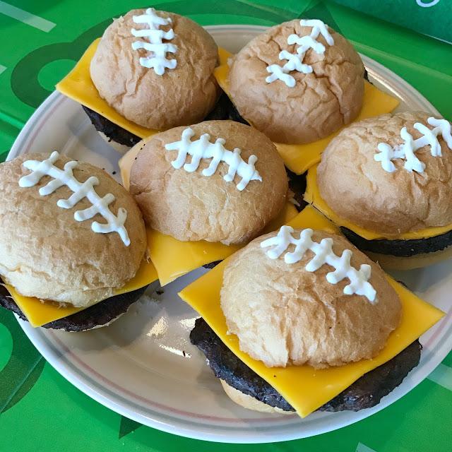 super easy football party food idea: football sliders