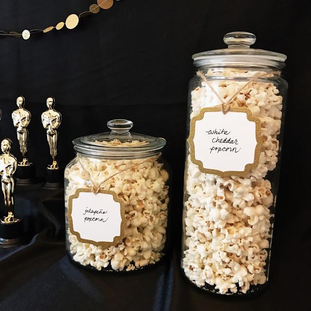 oscar party appetizer ideas: popcorn bar