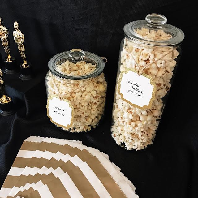 popcorn bar - food ideas for an oscar party
