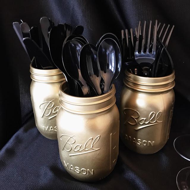 easy decor idea for an awards show party or oscar party: diy gold spray painted mason jars