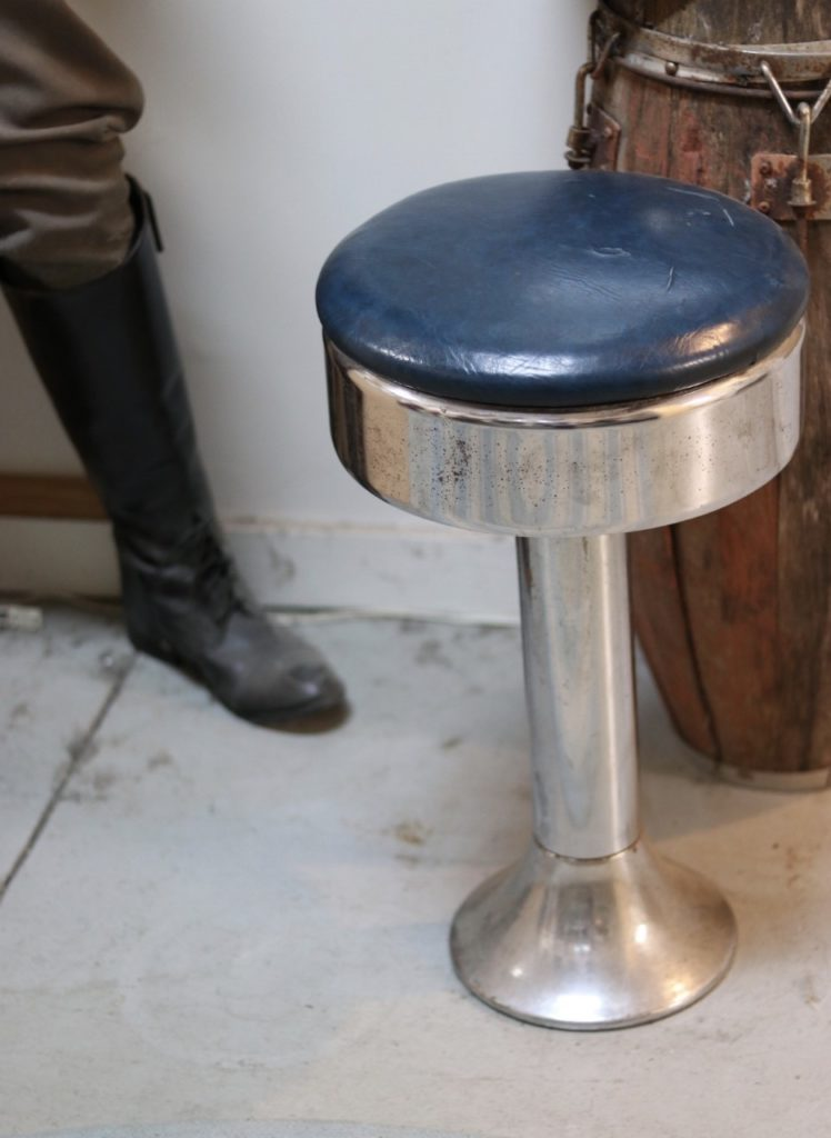 The stool where Clyde Barrow ordered his last meal before Bonnie & Clyde were ambushed and killed (at the Bonnie & Clyde Ambush Museum in Louisiana)