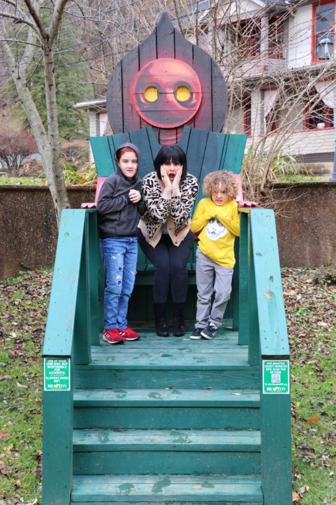 Flatwoods (or Braxton County) Monster in West Virginia - monster chairs roadside attraction on our road trip from texas to washington dc