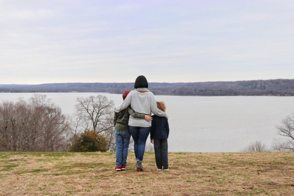 Family road trip to Washington dc: Looking out over the Potomac River from George Washington's Mount Vernon estate