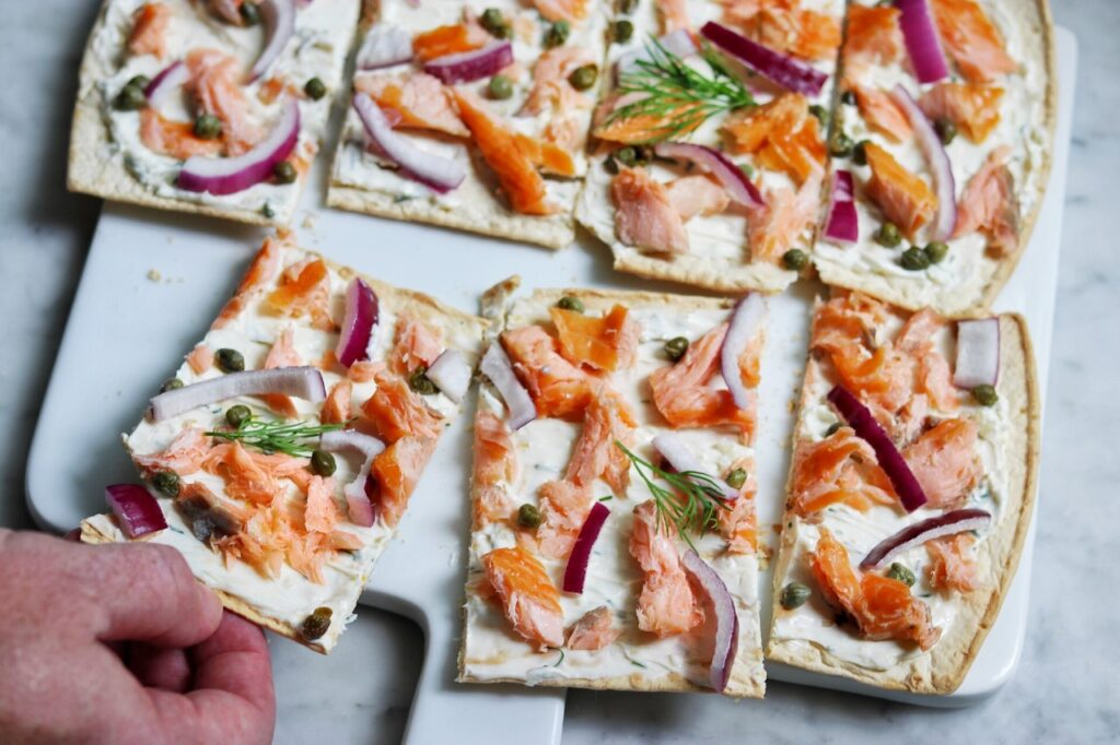 Hot Smoked Salmon Flatbread Pizza