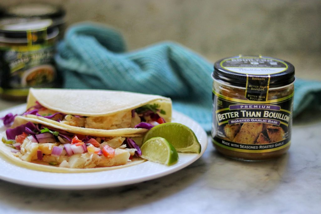 Garlic-Lime grilled fish tacos