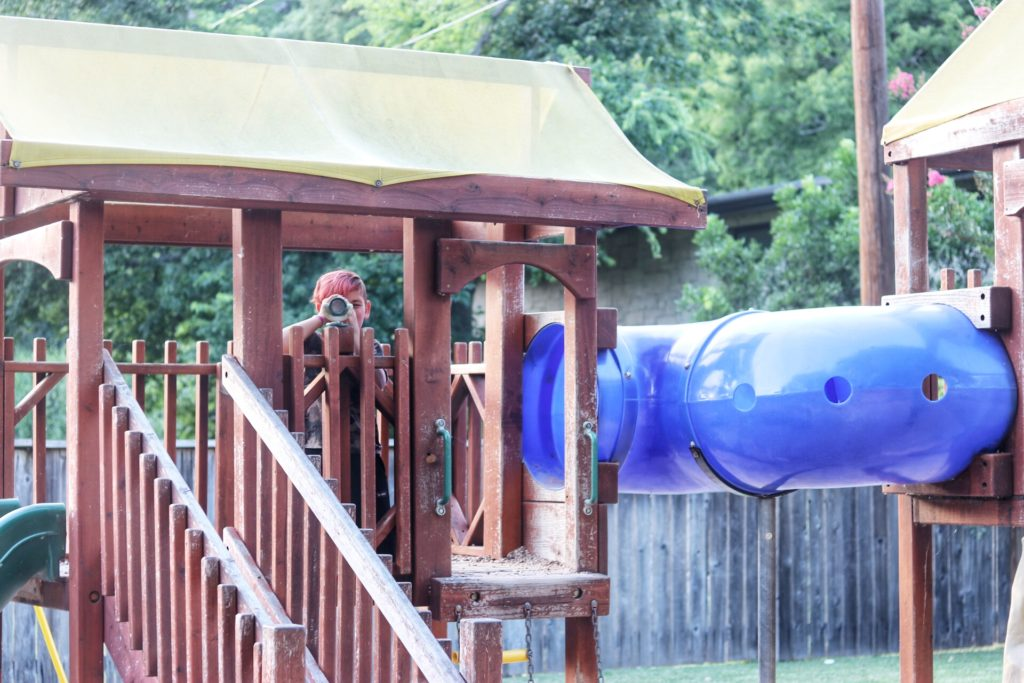 Playscape for kid-friendly dining fun at Ski Shores in Austin