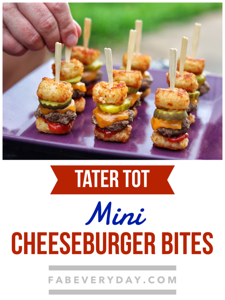 Tater Tot Mini Cheeseburger Bites summer party appetizer