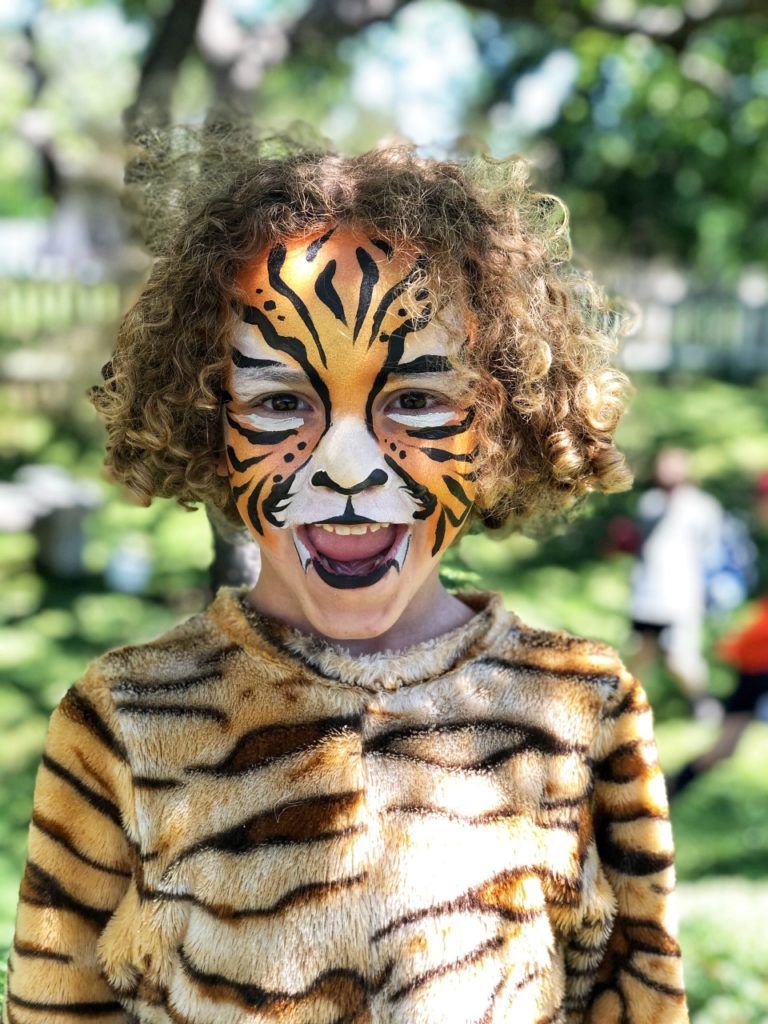 tiger face painting for a tiger themed party activity