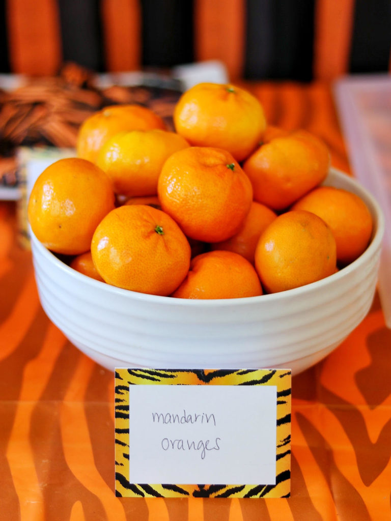mandarin oranges - kid friendly party food idea for a tiger birthday party