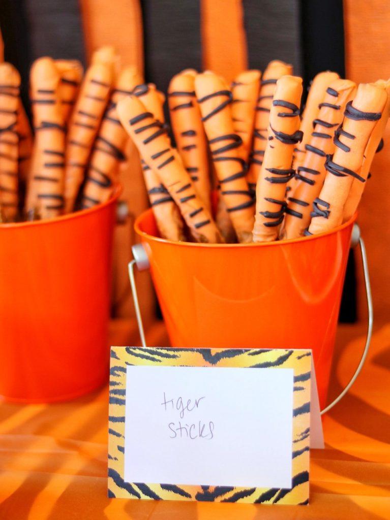 striped pretzel rods for a tiger or zebra birthday party