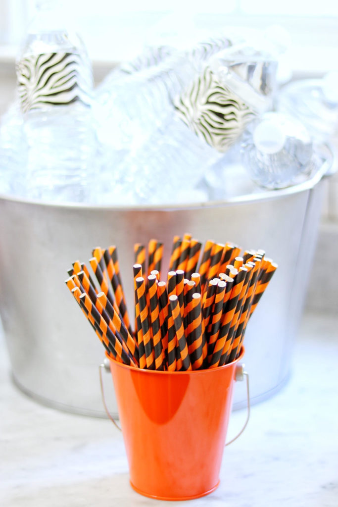 paper straws party decoration for a tiger birthday party