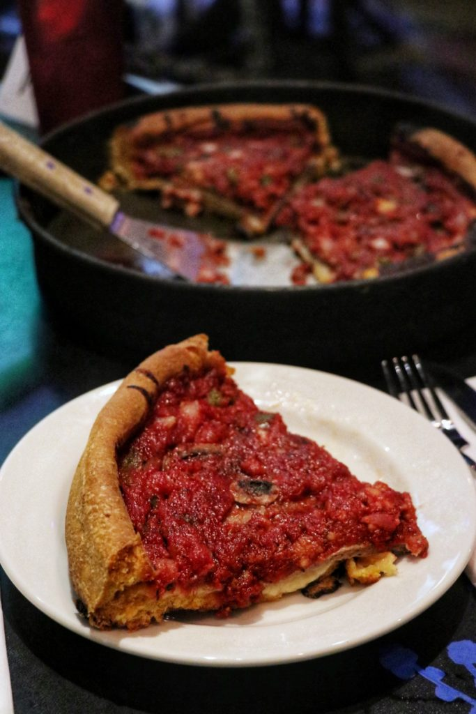 chicago style deep dish pizza at gino's east