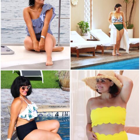 flattering and stylish swimsuits for moms