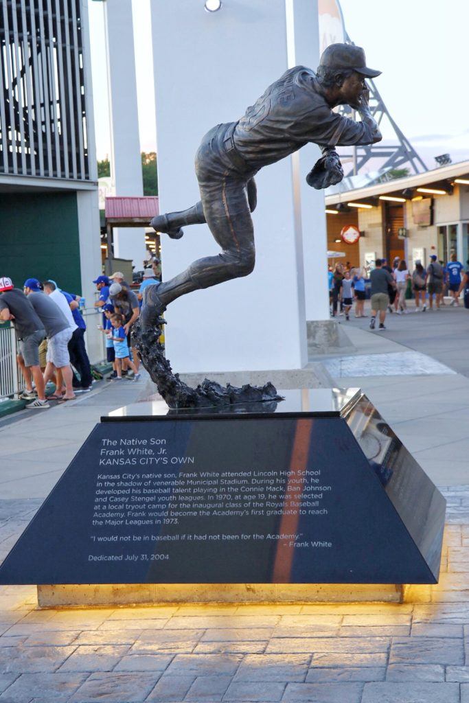 "Frank White, Jr. ""The Native Son"" statue at Kauffman Stadium"