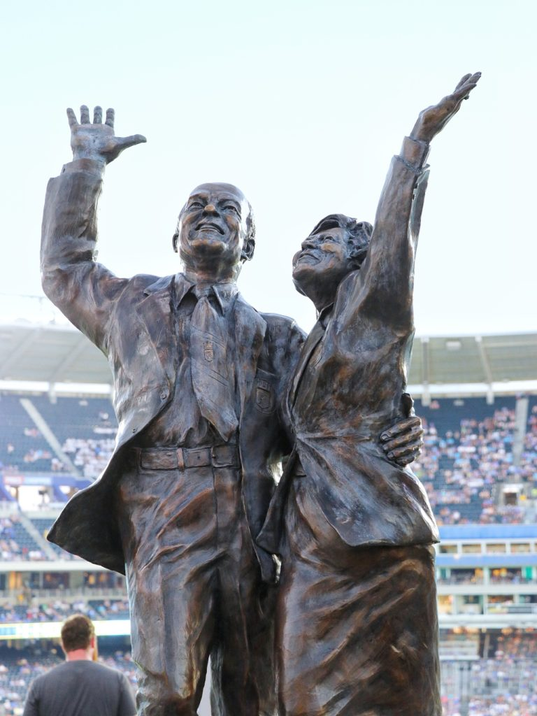 Ewing Marion and Muriel Irene Kauffman statue in the outfield at Kauffman Stadium in Kansas City