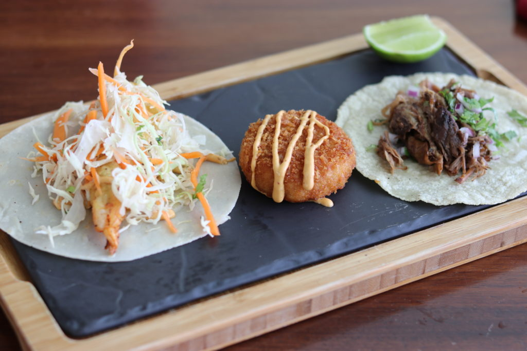 tacos and croquettes from ceviche at marriott puerto vallarta