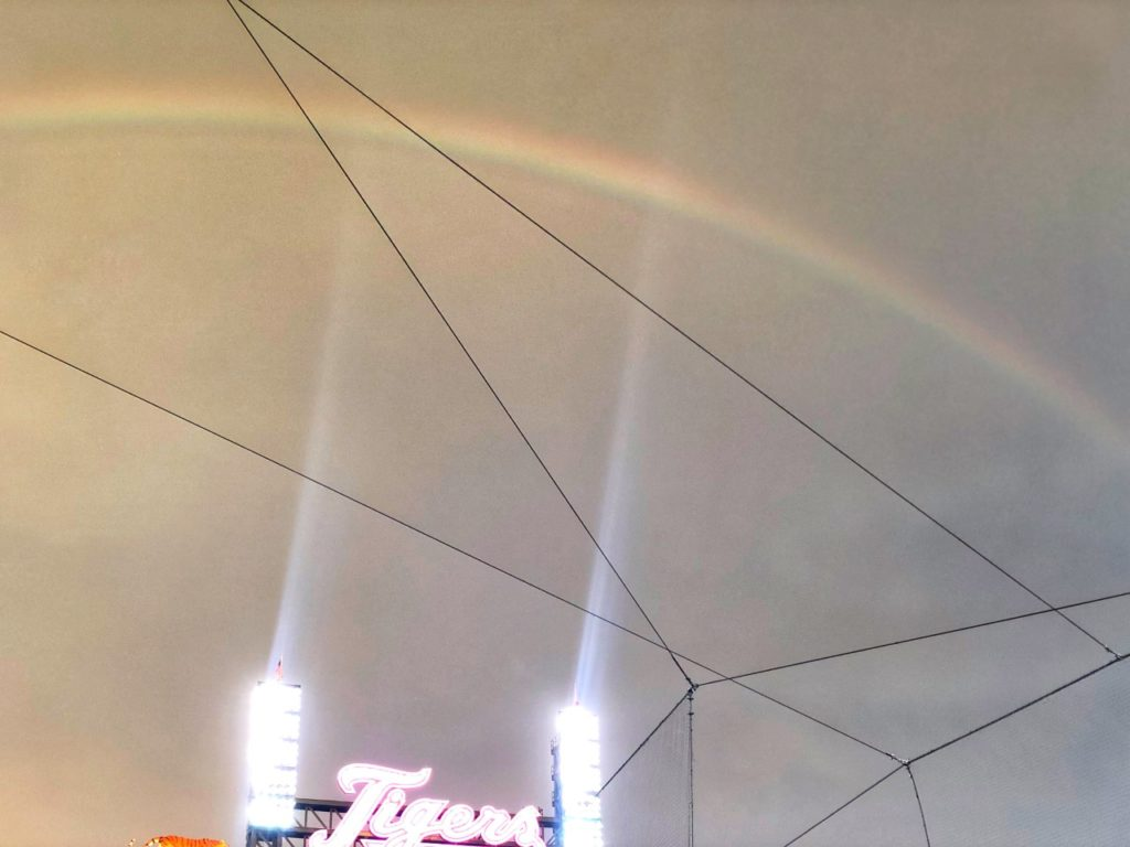 rainbow over comerica park in detroit