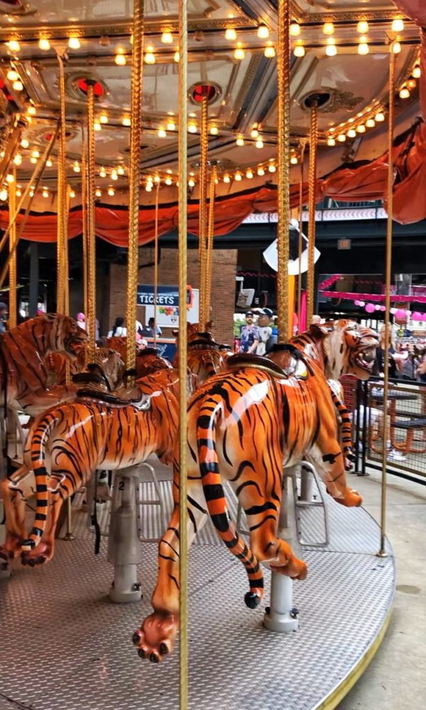 seeing a detroit tiger's game at comerica park with kids: all-tiger carousel