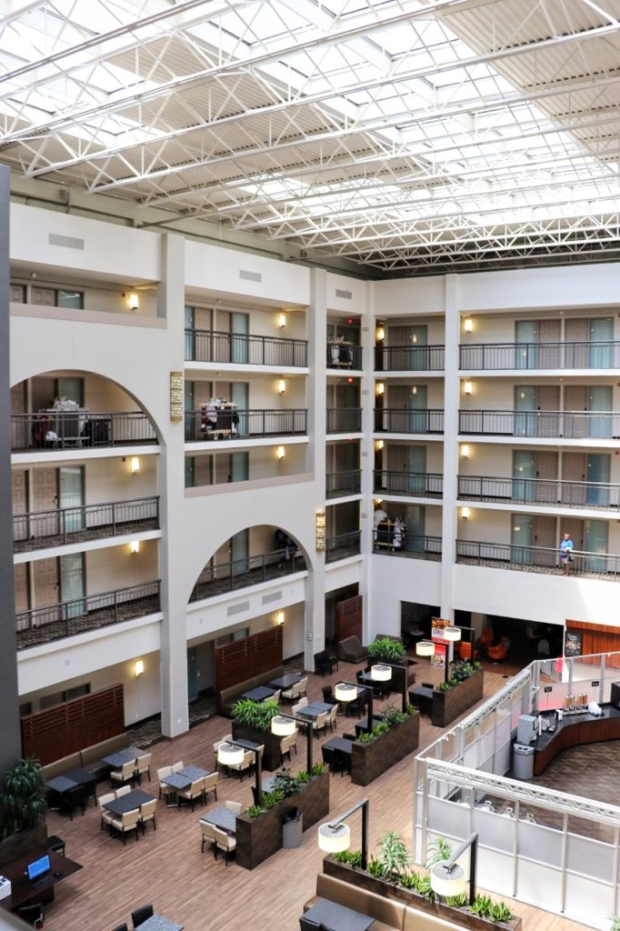 Inside the family-friendly Embassy Suites by Hilton Detroit Livonia Novi hotel