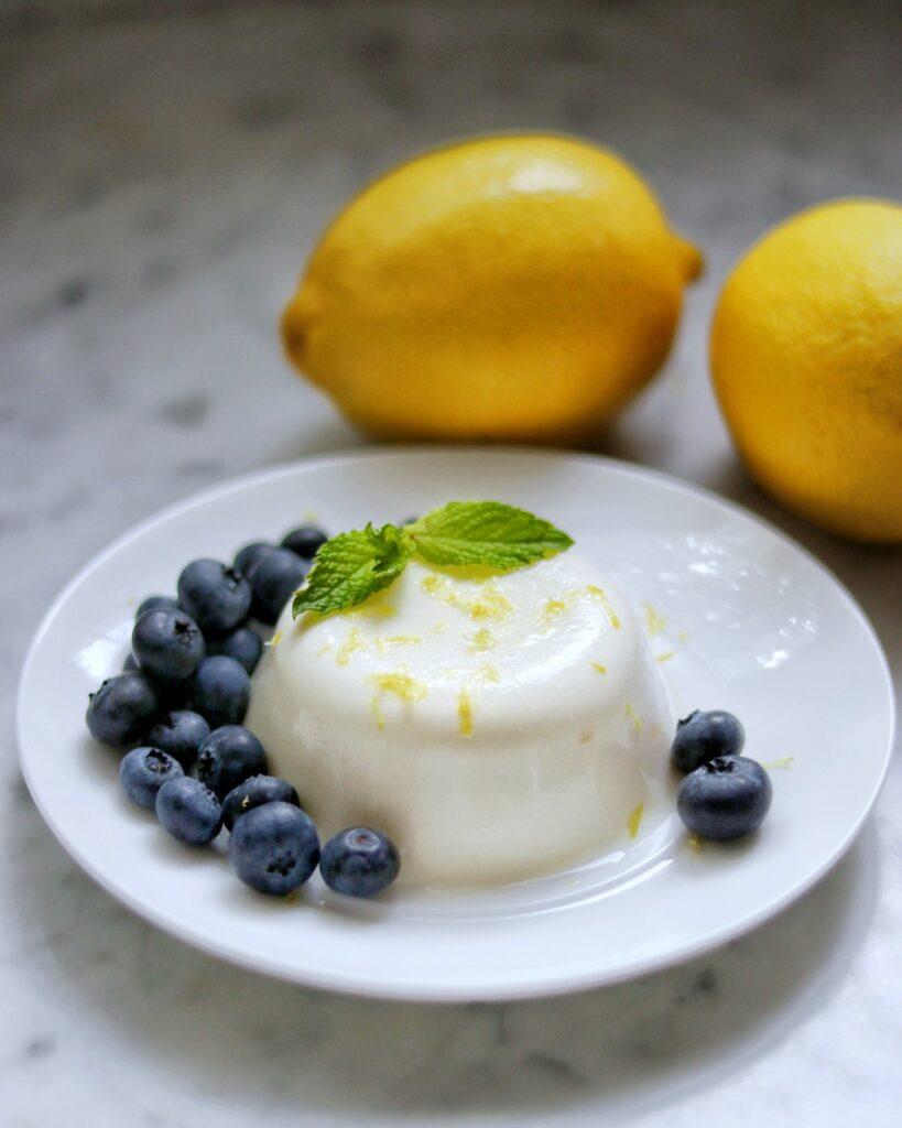 easy lemon panna cotta with blueberries recipe