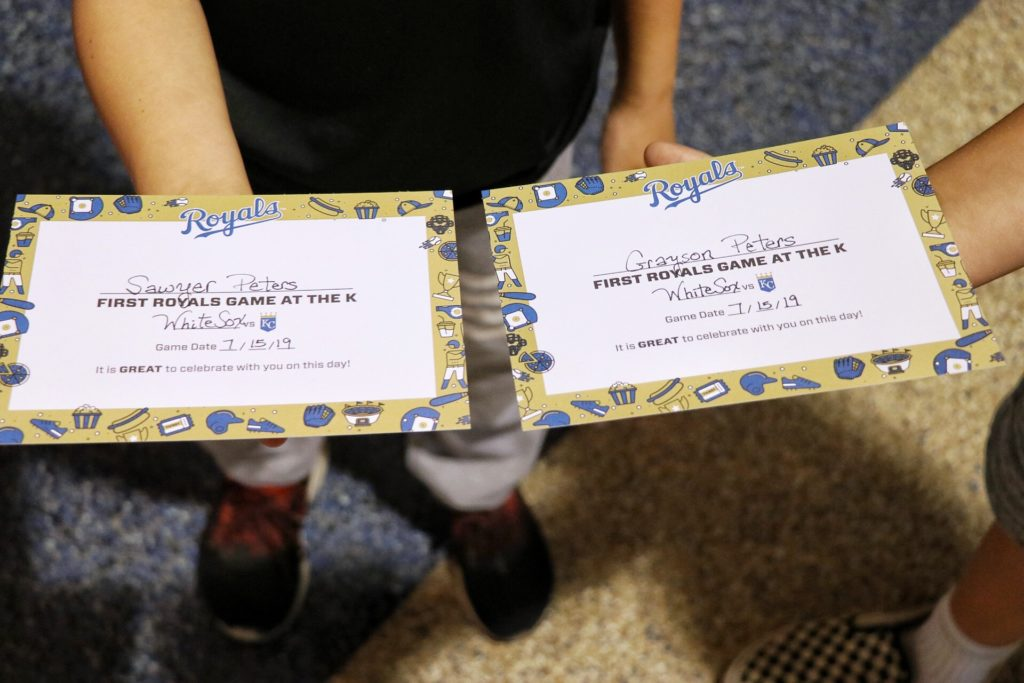 Tips for taking kids to Major League Baseball games: first timer certificate from the Kansas City Royals Kauffman Stadium