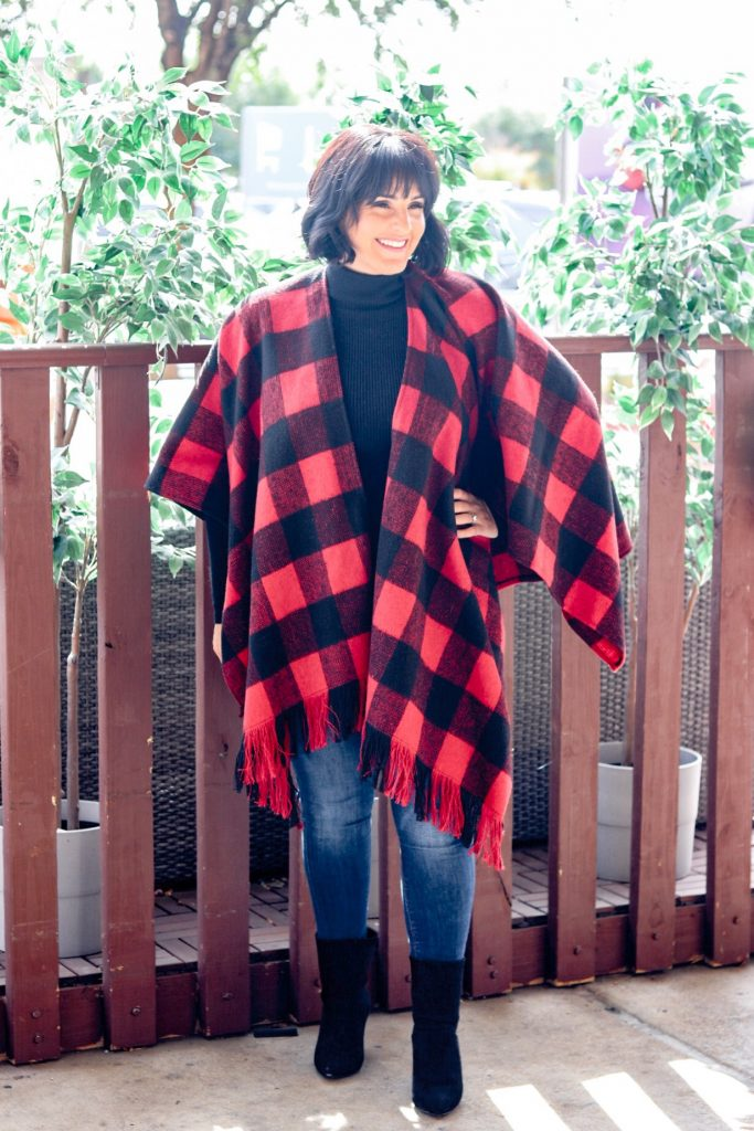 red buffalo plaid cape wrap from SHEIN plus a black friday sale discount code