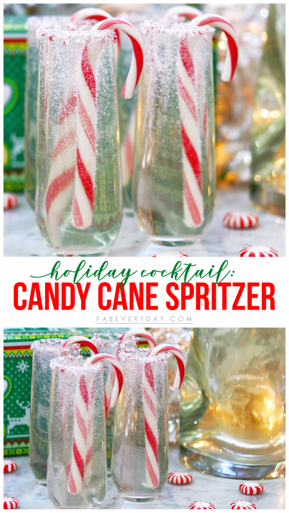 Candy Cane Spritzer cocktail recipe - easy holiday party drink idea