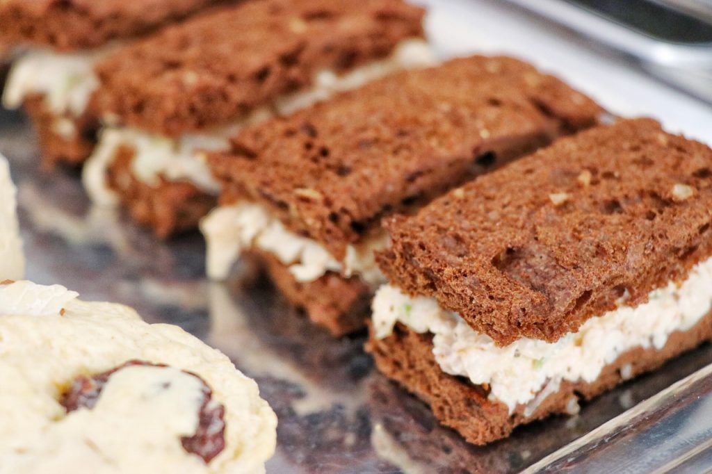 Easy finger sandwiches recipe on pumpernickel bread for a high tea party