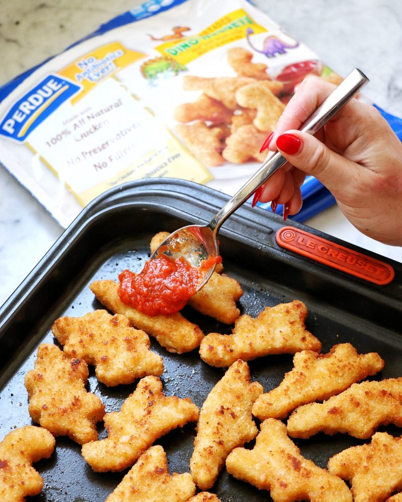 out-of-the-box kid friendly lunch idea: Family-Friendly Dino Nugget Parmesan