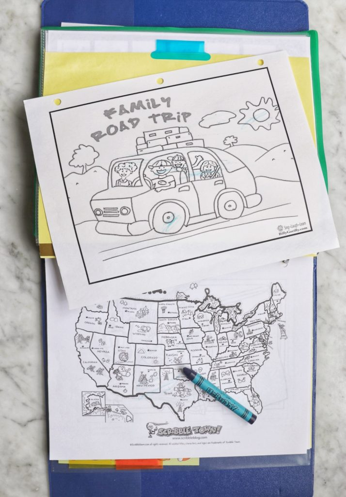 free road trip printable coloring pages for a DIY road trip activity folder