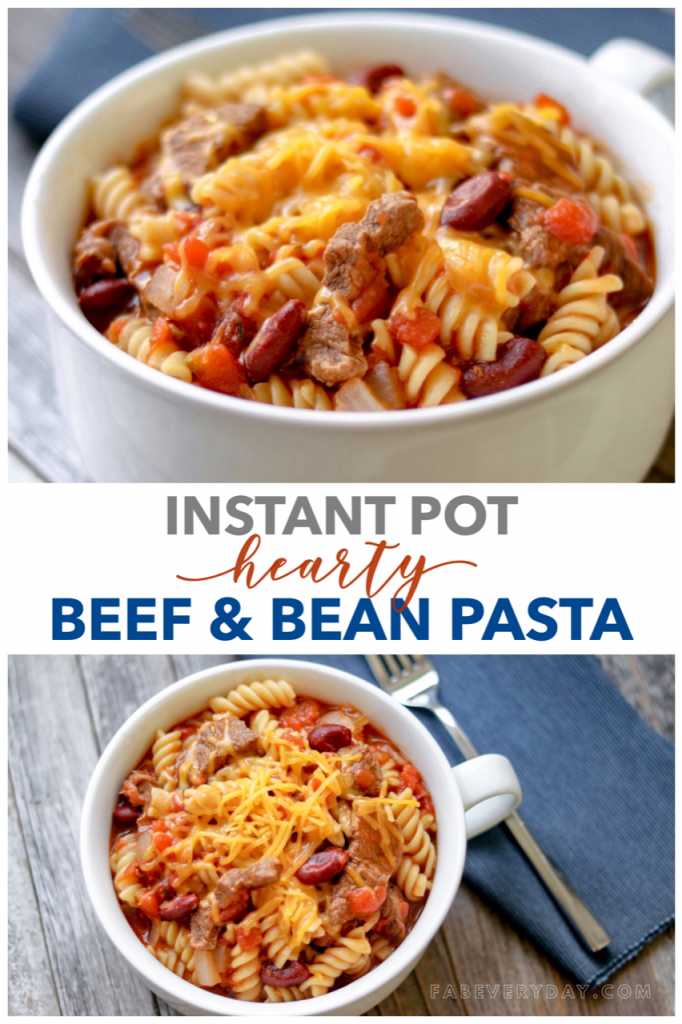 Hearty Beef and Bean Pasta recipe for the Instant Pot or pressure cooker