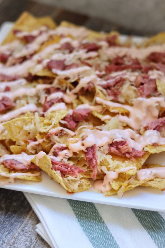 Reuben Nachos recipe with leftover corned beef for St. Patrick's Day